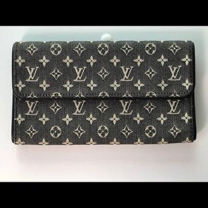 Louis Vuitton Black Idylle Canvas Mini Lin Wallet